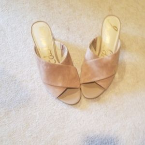 Sam Edelman, tan suede slides, block heel